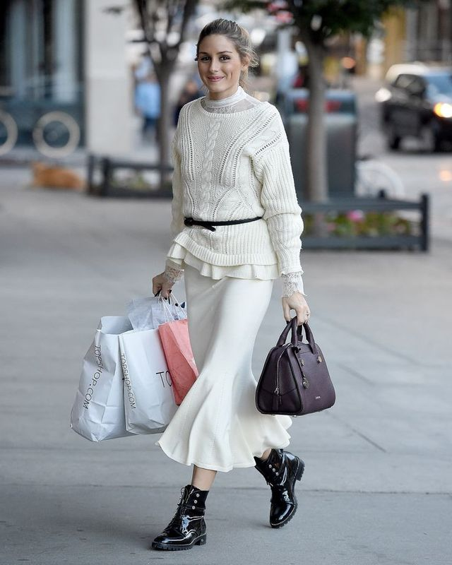 Olivia Palermo Shopping Outfit Chelsea28 Lace Turtleneck