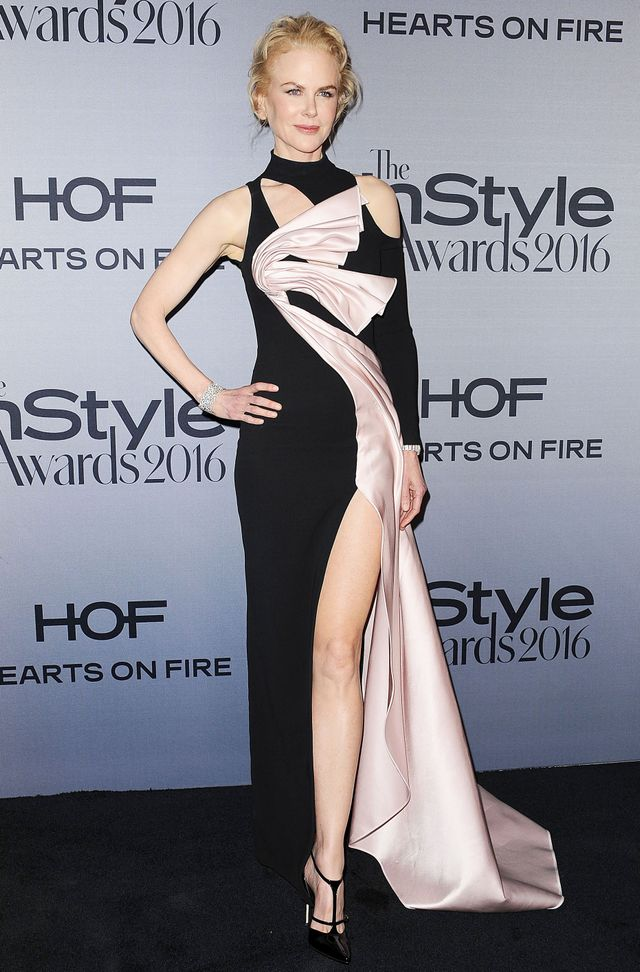 On Nicole Kidman: Versace gown; Brian Atwood heels.