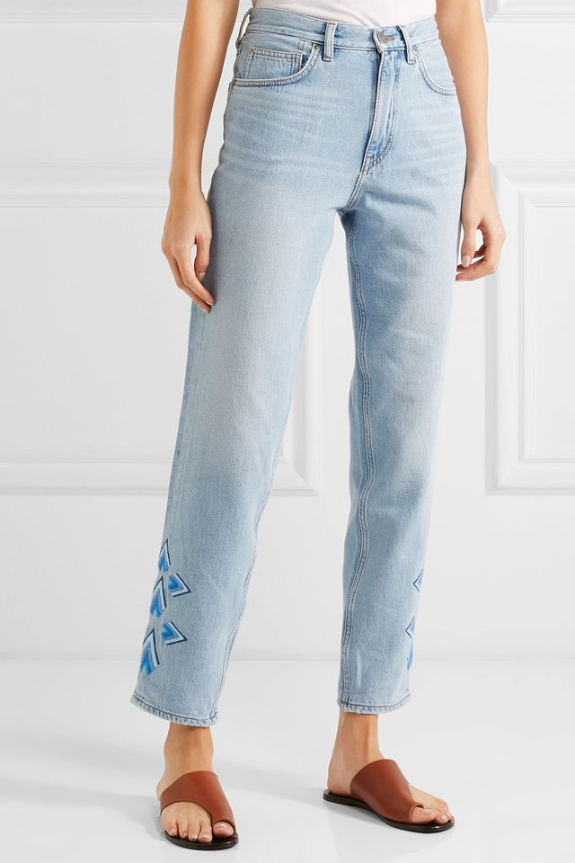 M.i.h Jeans Lou cropped embroidered high-rise flared jeans