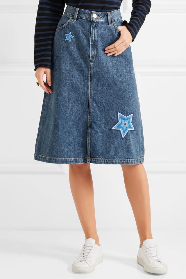 M.i.h Jeans Parra embroidered denim skirt