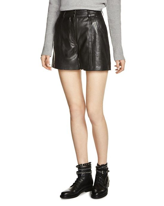 Maje Isaac Leather Shorts