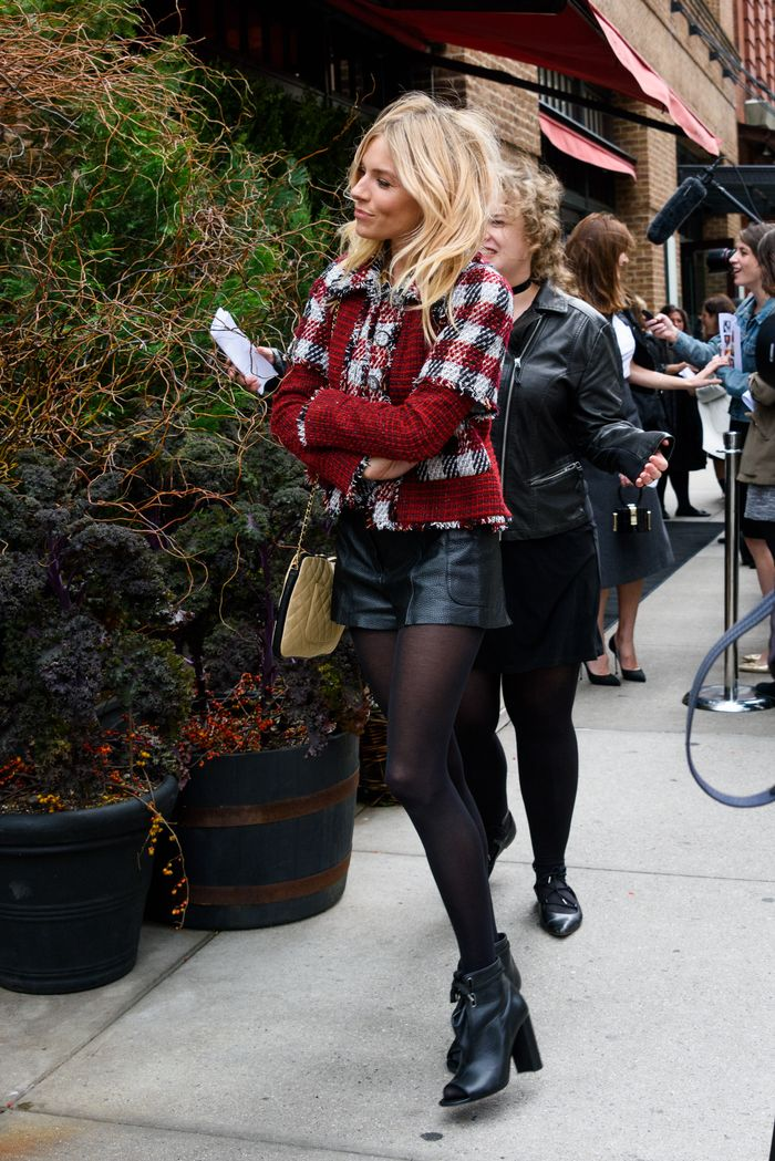 Sienna Miller street style in NYC wearing leather shorts