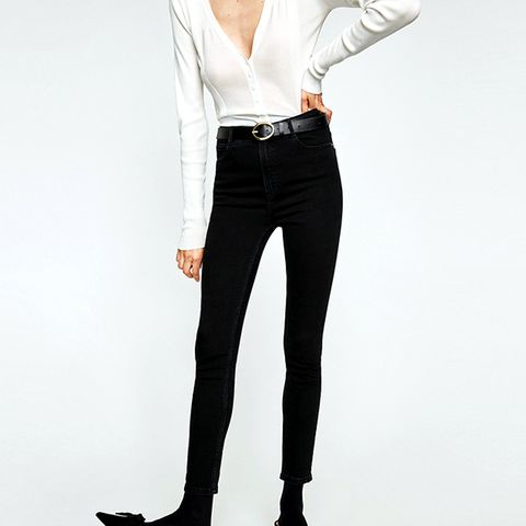 High-Rise Skinny Fit Jeans in Black