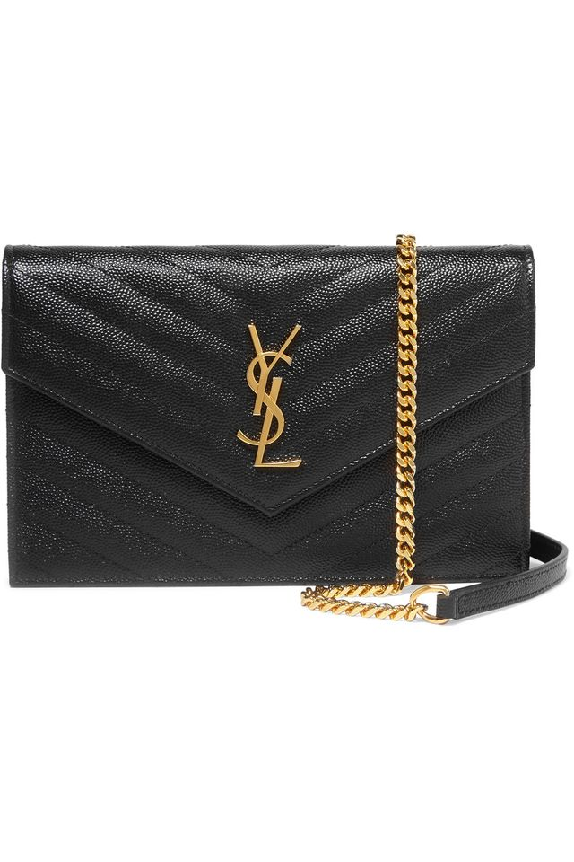Saint Laurent Monogramme Small Quilted Textured-Leather Shoulder Bag