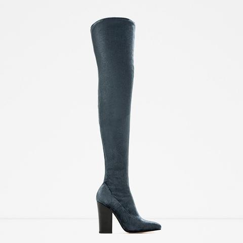 Velvet Over the Knee High Heel Boots