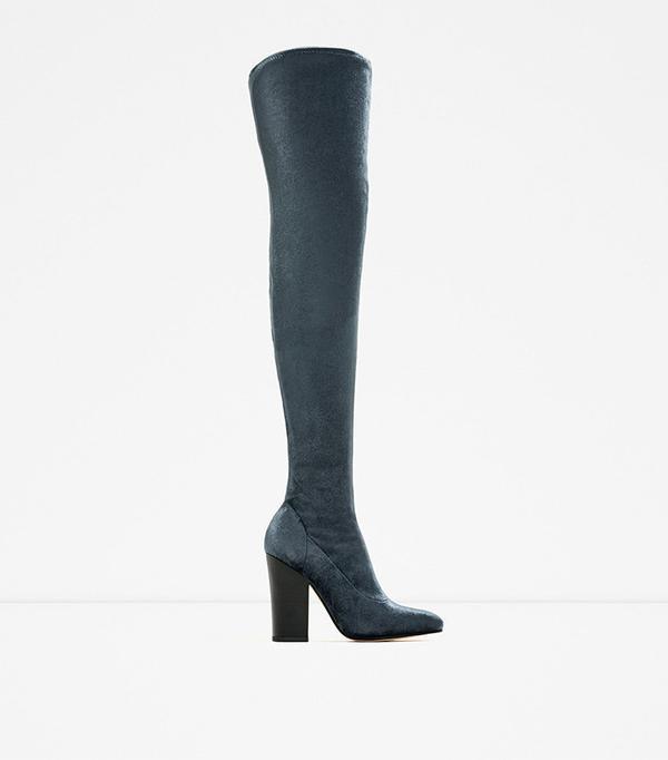 Zara Velvet Over the Knee High Heel Boots
