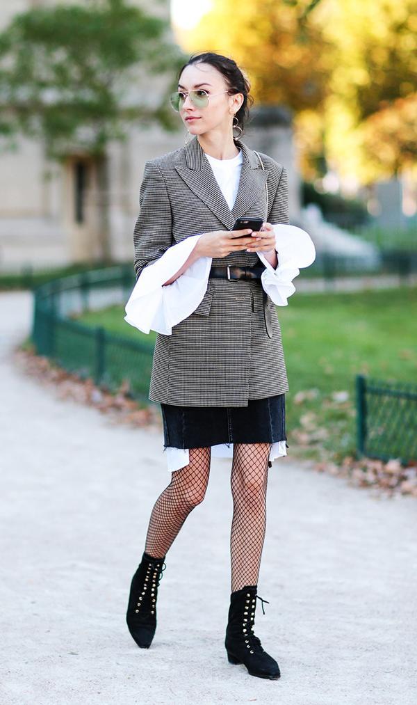Guest outside of Barbara Bui show at Paris Fashion Week