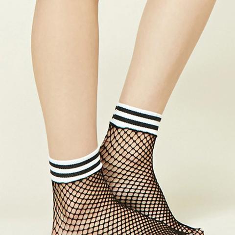 Striped Fishnet Ankle Socks