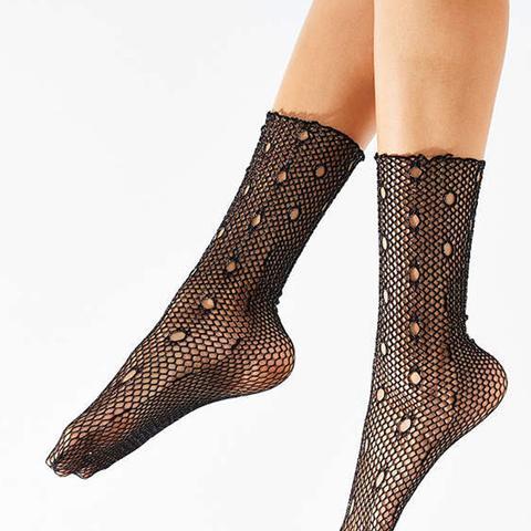 Glitter Fishnet Crew Sock