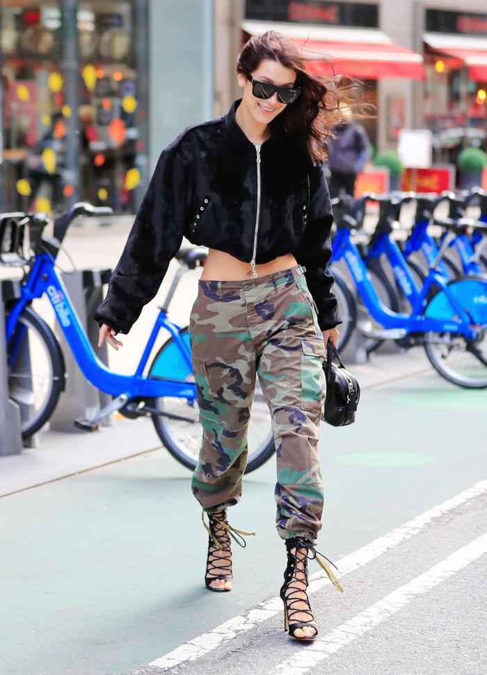 Bella Hadid wearing camo pants in New York City
