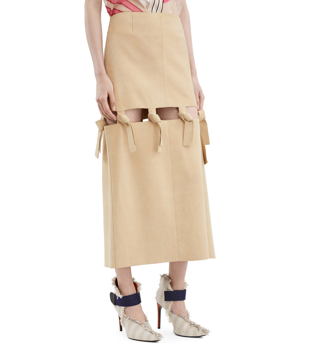 Acne Studios Hein Bone Knotted Suede Skirt