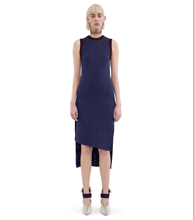 Acne Studios Jolie Stripe Bordeaux Stripe Bias Cut Dress