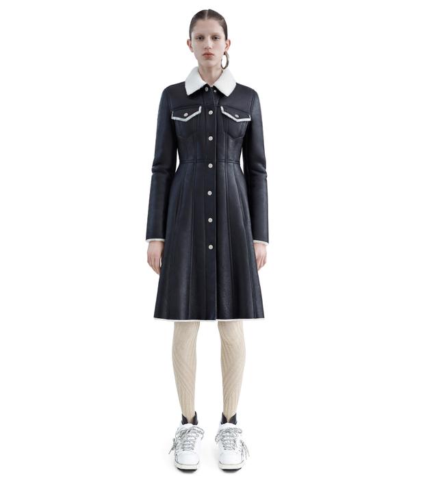 Acne Studios Luana Black Denim Detail Leather Coat
