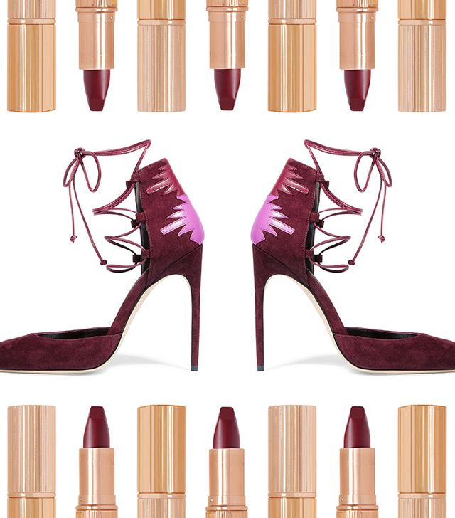 Shop: Brian Atwood Maka Lace-Up Leather-Paneled Suede Pumps ($750); Charlotte Tilbury Matte Revolution Lipstick ($32).