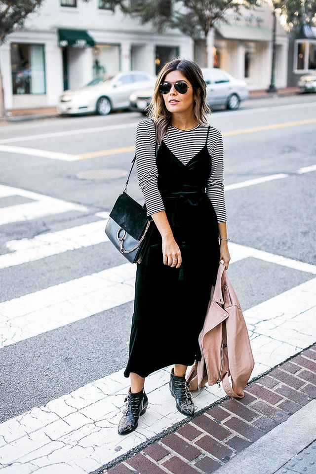 Azani's tip to make the dress brunch-ready is to layer a 3/4-sleeve tee underneath it. Then add a pair of statement boots and accessorize with a classic bag. Thecherry on top? An...