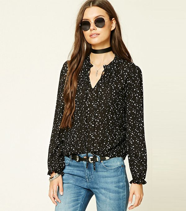Forever 21 Tie-Neck Star Print Top