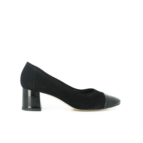 Black Velvet Shoes with Toe Varnish and Wide Heel