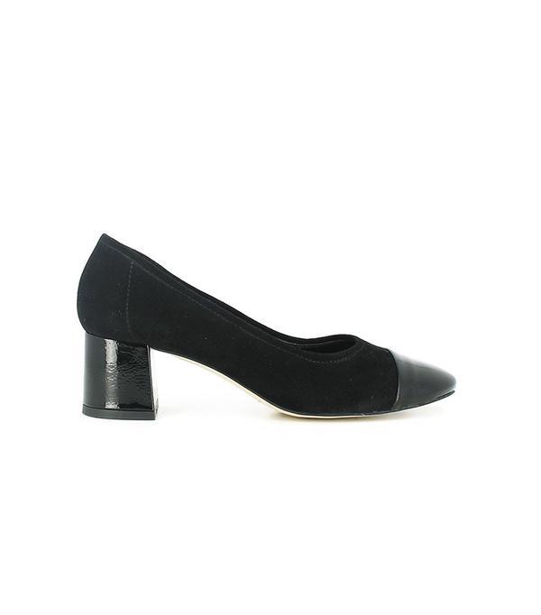 Black Velvet Shoes with Toe Varnish and Wide Heel by Jonak Paris