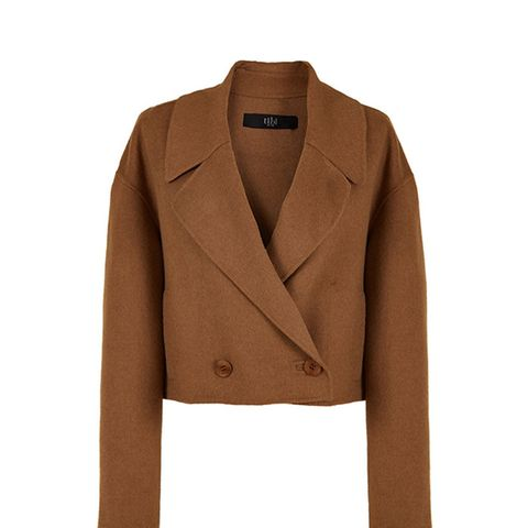 Reversible Double Faced Wool-Angora Cropped Jacket
