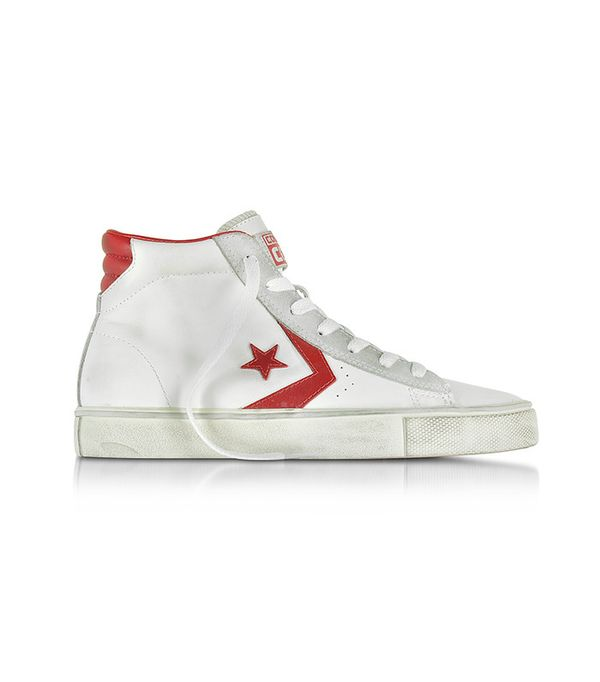 Leather Vulc White and Red Mid Top Unisex Sneakers by Converse