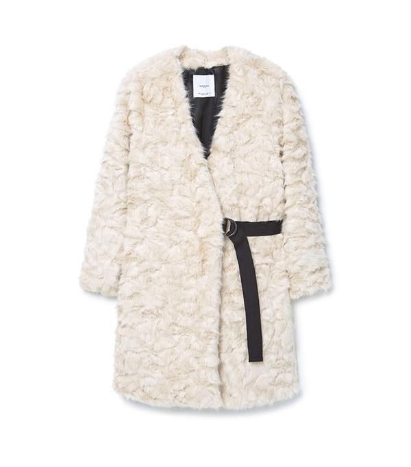 Belt Faux Fur Coat by Mango