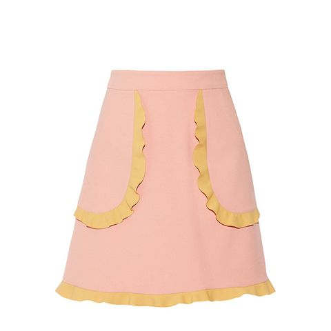 Two-Tone Ruffle-Trimmed Cady Mini Skirt