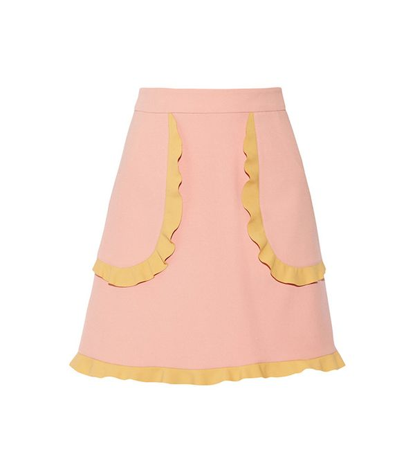Two-Tone Ruffle-Trimmed Cady Mini Skirt by REDValentino