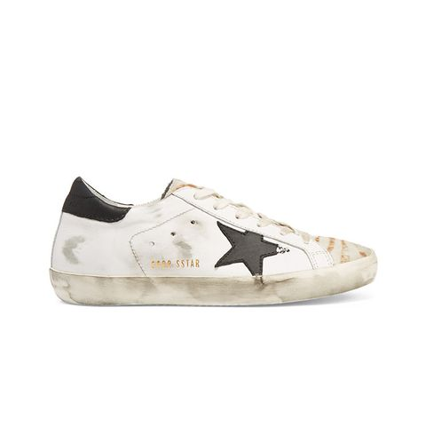 Deluxe Brand Super Star Distressed Calf Hair-Paneled Leather Sneakers