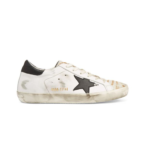 Super Star Distressed Calf Hair-Paneled Leather Sneakers by Golden Goose