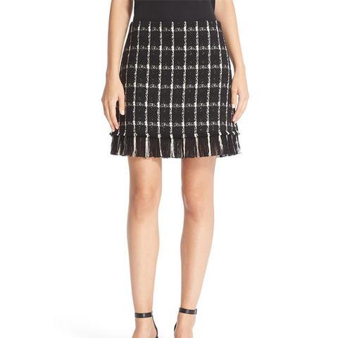 Marisol Fringe Hem Plaid Tweed Miniskirt