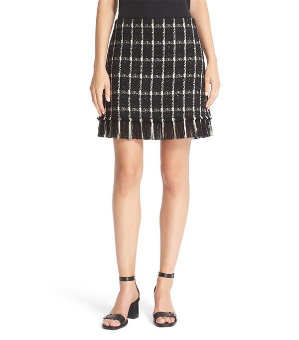 Fringe Hem Plaid Tweed Miniskirt by Tory Burch