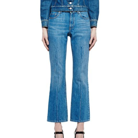 Flare-Leg Cropped Jeans