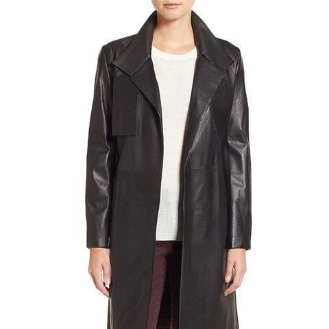 Lambskin Leather Trench Coat