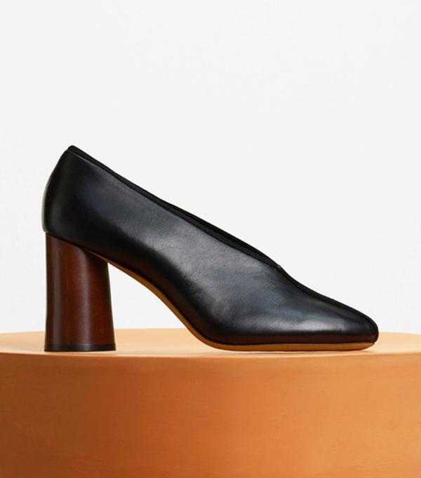Heel Pump in Black Kidskin & Suede Kidskin by Celine
