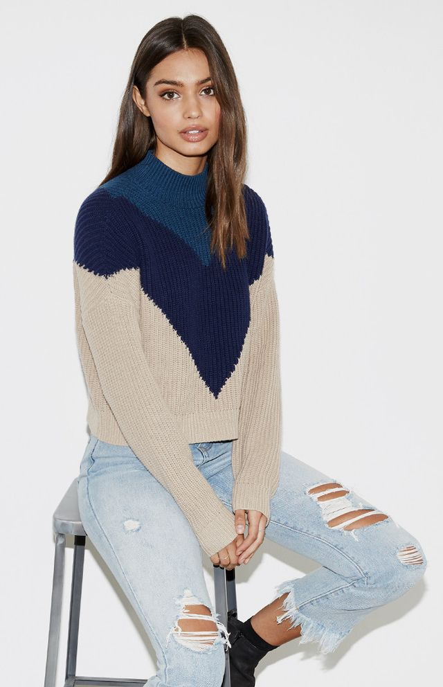 Kendall & Kylie for PacSun Chevron Boxy Mock Neck Pullover ($50)