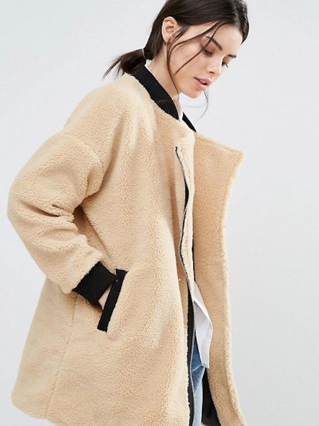 One Day Allover Faux Shearling Longline Bomber