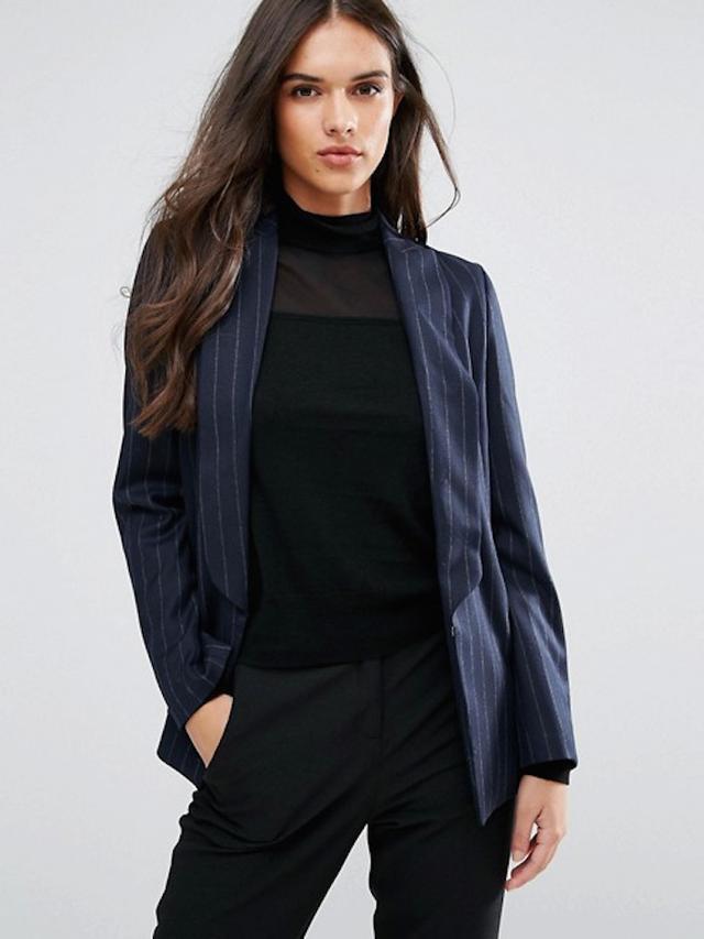 Sisley Pin Stripe Single Button Blazer