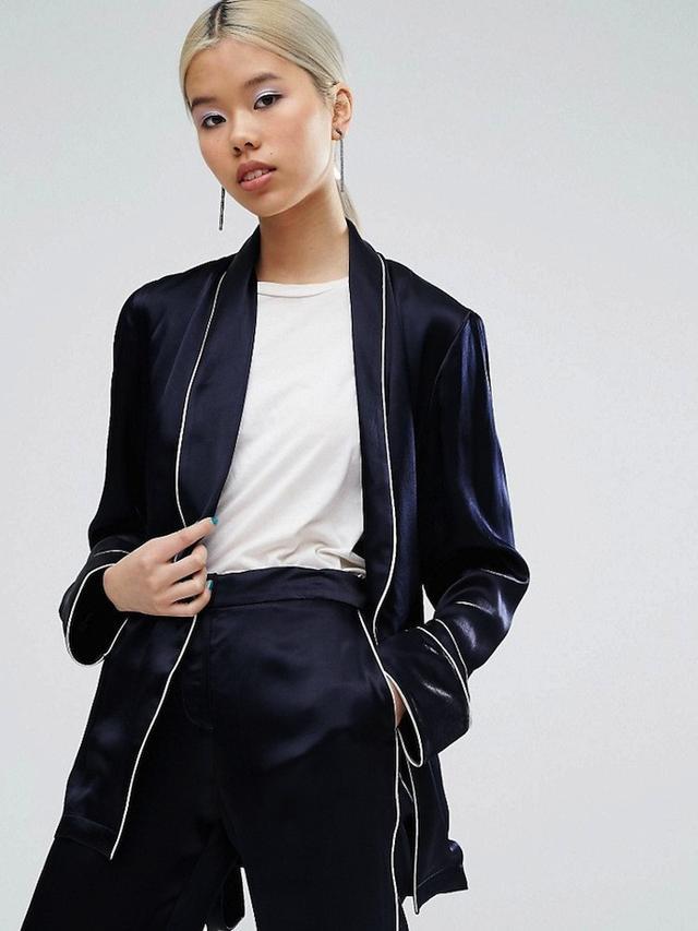 ASOS Pajama Kimono Blazer With Piping