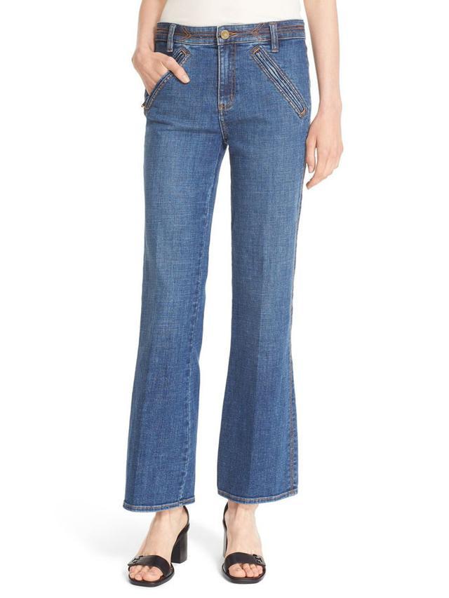 Tory Burch Fiador Crop Flare Leg Jeans