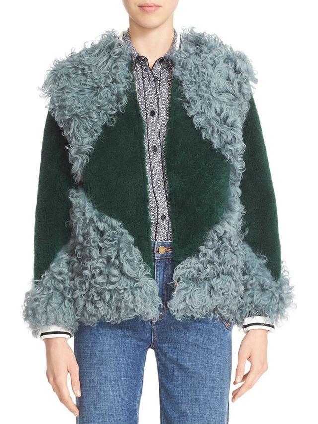 Tory Burch Bristol Colorblock Genuine Shearling Jacket