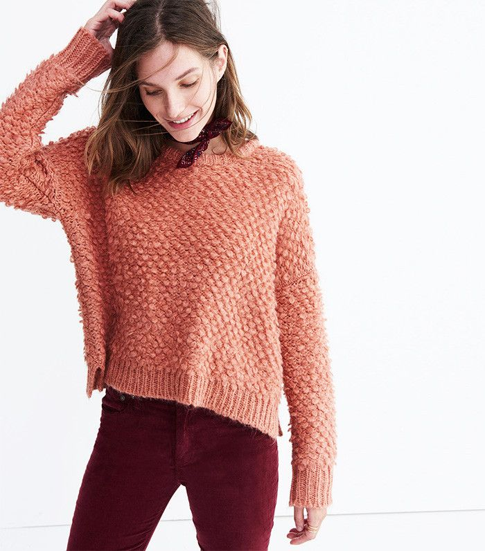 Madewell Popstitch Pullover Sweater in Burnished Blush