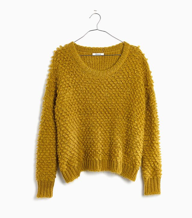 Madewell Popstitch Pullover Sweater in Crushed Chartreuse