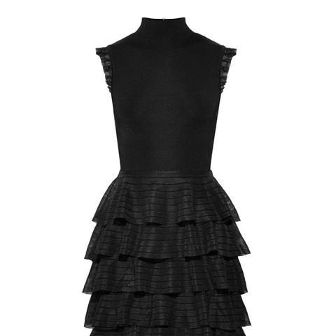 Janice Tiered Ruffled Stretch-Knit Mini Dress