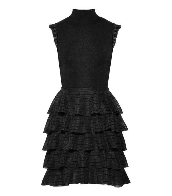 best New Year's Eve dresses: Alice + Olivia Janice Tiered Ruffled Stretch-Knit Mini Dress
