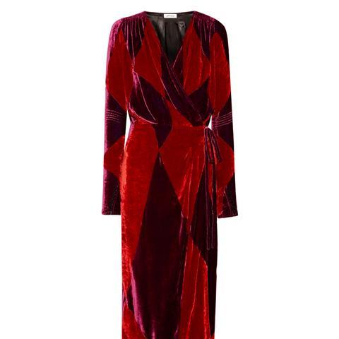 Victoria Two-Tone Velvet Wrap Midi Dress