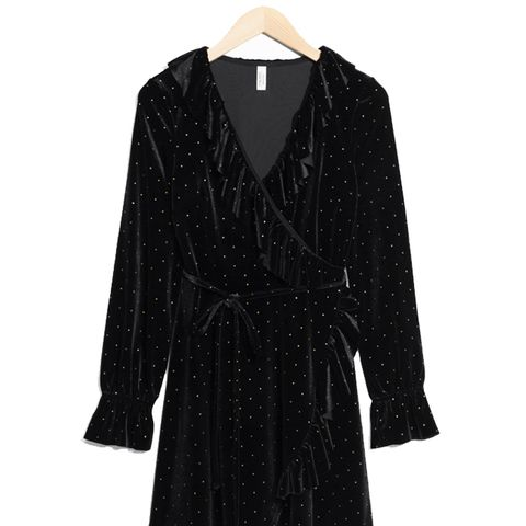 Velvet Frills Wrap Dress