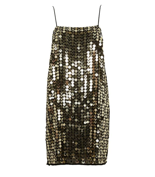 best New Year's Eve dresses: River Island Gold Metallic Disk Sequin Slip Dress