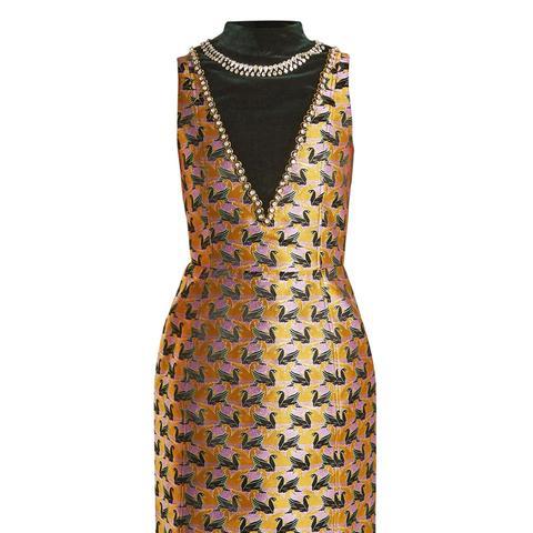 Verdi Swan-Jacquard Mini Dress