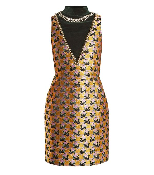 best New Year's Eve dresses: Mary Katrantzou Verdi Swan-Jacquard Mini Dress