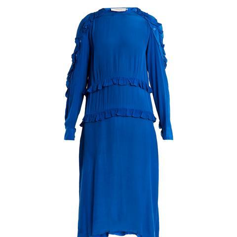 Amata Ruffled Crepe Midi Dress
